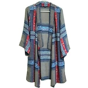 Tahari Long Shear Open Front Kemono Cardigan Shrug